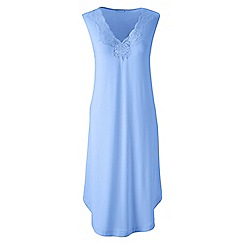 Lands' End - Blue petite plain modal lace v-neck sleeveless nightgown