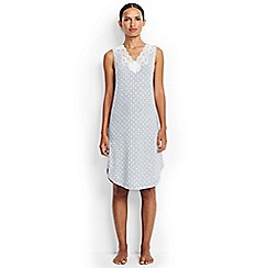 Lands' End - Grey regular patterned modal lace v-neck sleeveless nightgown