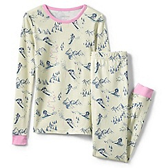 Lands' End - Cream girls' snug fit patterned pyjama set