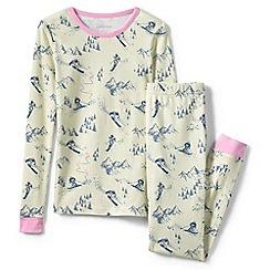Lands' End - Cream girls' snug fit patterned pyjama set