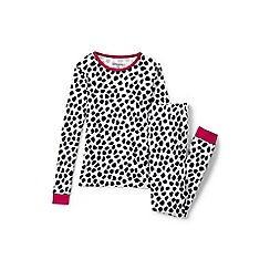 Lands' End - Girls' white snug fit patterned pyjama set