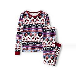 Lands' End - Girls' cream snug fit patterned pyjama set
