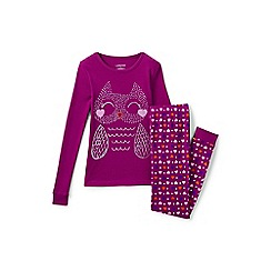 Lands' End - Girls' pink snug fit graphic pyjama set