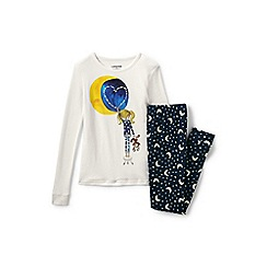 Lands' End - Girls' white snug fit graphic pyjama set