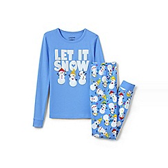 Lands' End - Blue girls' snug fit graphic pyjama set