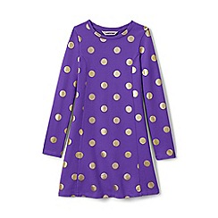 Lands' End - Purple girls' long sleeve skater dress