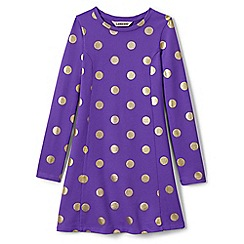 Lands' End - Purple girls' long sleeve skater dress