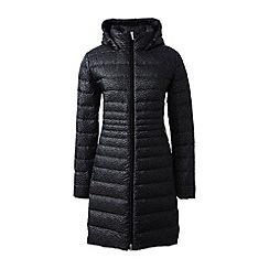 Lands' End - Black lightweight packable hyperdry down patterned coat