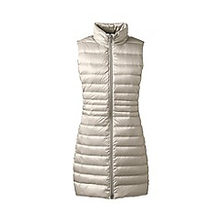 Lands' End - Cream lightweight hyperdry down long gilet