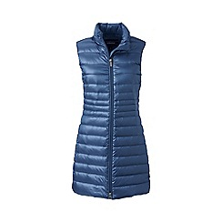 Lands' End - Blue lightweight hyper dry down long gilet