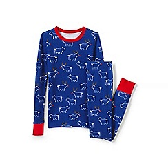 Lands' End - Blue boys' snug-fit waffle knit pj's