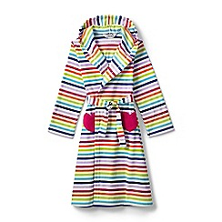 Lands' End - Girls' white striped fleece dressing gown