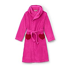 Lands' End - Pink girls' plain fleece dressing gown