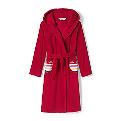 Lands' End - Red girls' plain fleece dressing gown