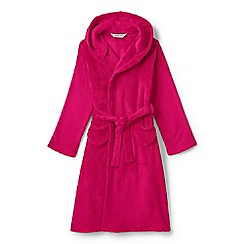 Lands' End - Girls' pink plain fleece dressing gown