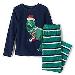 Lands' End - Green boys' fleece pyjama set