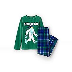 Lands' End - Boys' green fleece pyjama set