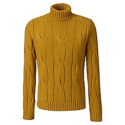 Lands' End - Yellow wool/alpaca cable roll neck sweater