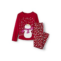 Lands' End - Girls' red fleece graphic pj set