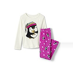 Lands' End - Girls' metallic fleece graphic pj set