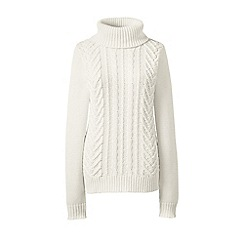 Lands' End - Cream drifter cable roll neck