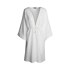 Lands' End - White regular silk blend embroidered mid-length kaftan