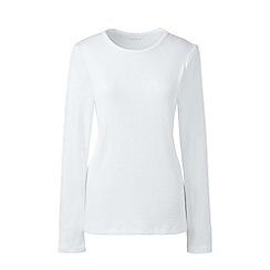 Lands' End - White cotton rib crew neck t-shirt