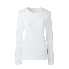 Lands' End - White long sleeves cotton rib crew neck t-shirt