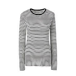 Lands' End - Cream petite long sleeve stripe rib tee