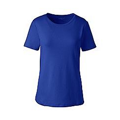 Lands' End - Blue cotton rib crew neck t-shirt