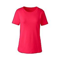 Lands' End - Pink cotton rib crew neck t-shirt
