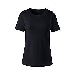 Lands' End - Black petite cotton rib crew neck t-shirt