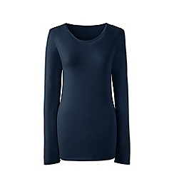 Lands' End - Blue long sleeve cotton/modal crew neck tee