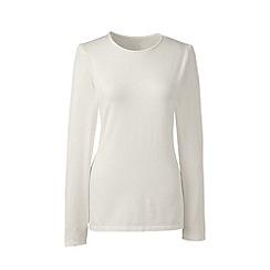 Lands' End - Cream long sleeve cotton/modal crew neck tee