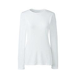 Lands' End - White long sleeve cotton/modal crew neck tee