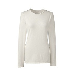 Lands' End - Cream long sleeve cotton/modal crew neck tee