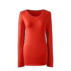 Lands' End - Orange plus long sleeve cotton/modal crew neck tee