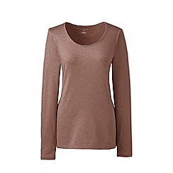 Lands' End - Brown regular long sleeves scoop neck t-shirt