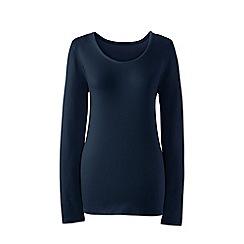 Lands' End - Blue long sleeve cotton/modal scoop neck tee
