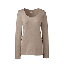 Lands' End - Beige long sleeve cotton/modal scoop neck tee