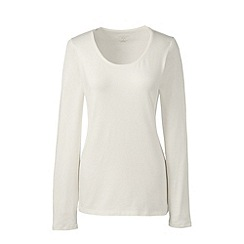 Lands' End - Cream long sleeve cotton/modal scoop neck tee