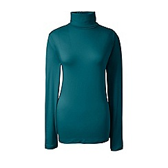 Lands' End - Green cotton/modal roll neck