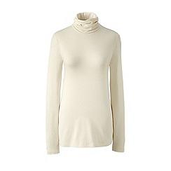 Lands' End - Cream tall cotton/modal roll neck