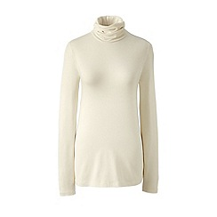 Lands' End - Cream cotton/modal roll neck