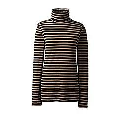 Lands' End - Beige cotton/modal stripe roll neck