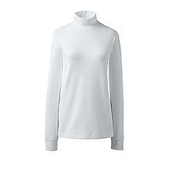 Lands' End - White regular long sleeves polo neck top