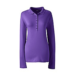 Lands' End - Purple petite long sleeve pima polo shirt