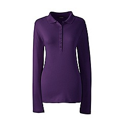 Lands' End - Purple petite long sleeves pima polo