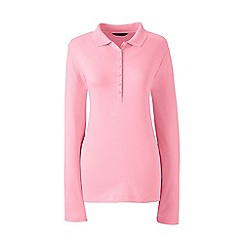 Lands' End - Pink petite long sleeves pima polo