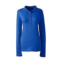 Lands' End - Blue petite long sleeves pima polo